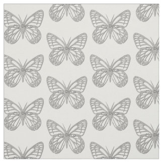 Custom Text Silver Grey Art Deco Butterfly Pattern Fabric