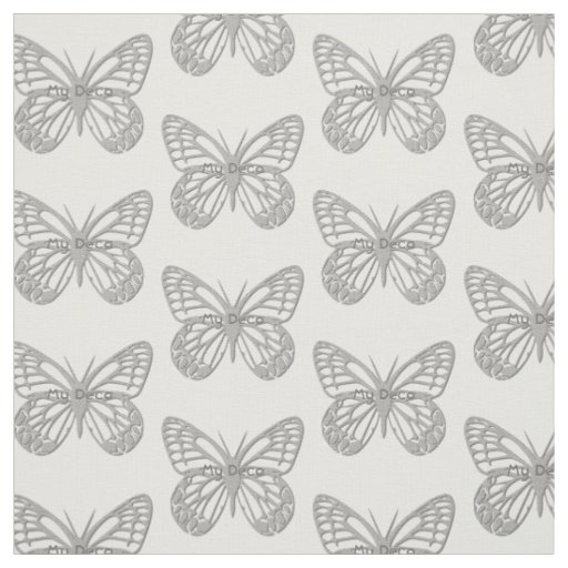 Custom Text Silver Grey Art Deco Butterfly Pattern