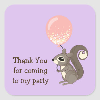 Custom Text Squirrel with Pink Balloon Square Sticker
