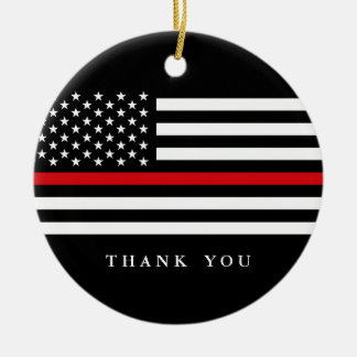Custom Text Thin Red Line Patriotic Flag Christmas Ornament