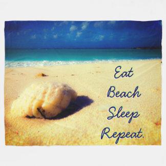 Custom Text Tropical Beach Fleece Blanket
