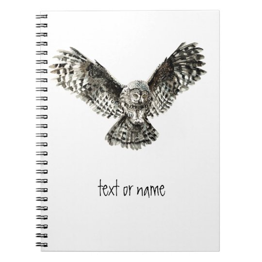 Custom Text, Watercolor Owl, Bird Animal, Nature Spiral Notebook