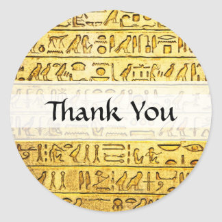 "Custom ""Thank You"" Egyptian Hieroglyphs Yellow Classic Round Sticker"