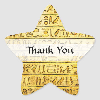 "Custom ""Thank You"" Egyptian Hieroglyphs Yellow Star Sticker"
