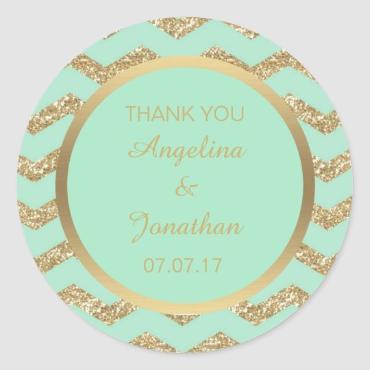 Custom Thank You Mint Green Glitter Gold Wedding