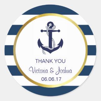 Custom Thank You Nautical Navy Gold Wedding Seals Round Sticker