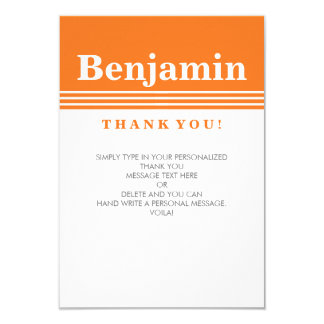 CUSTOM THANK YOU NOTE cool modern bold name orange 9 Cm X 13 Cm Invitation Card