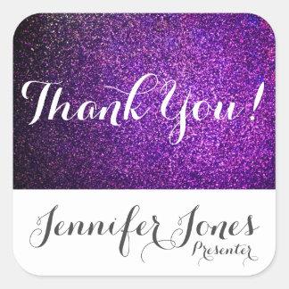 custom thank you stickers purple glitter