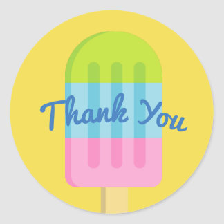 Custom thank you stickers with popsicle ice cream