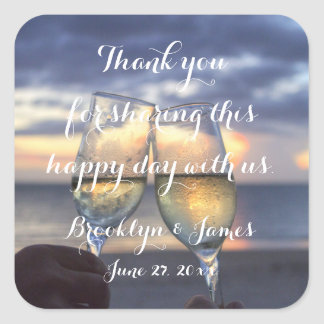 Custom Thank You Sunset On Beach Wedding Stickers