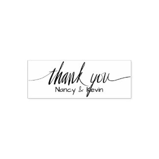 Custom Thank You typography self inking stamp
