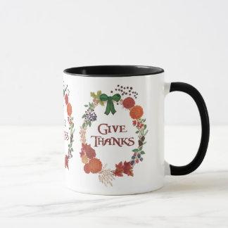 Custom Thanksgiving Give Thanks Fall Wreath Mug