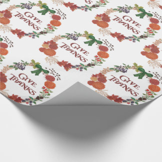 Custom Thanksgiving Give Thanks Fall Wreath Wrapping Paper
