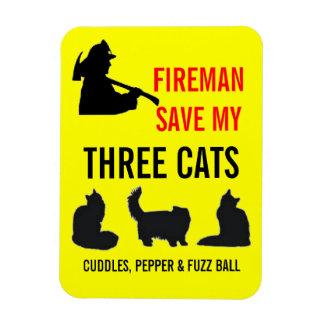 Custom Three Cat Fire Safety Rectangular Photo Magnet