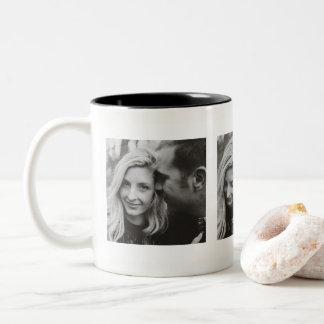 Custom Three Photos Personalised Two-Tone Coffee Mug