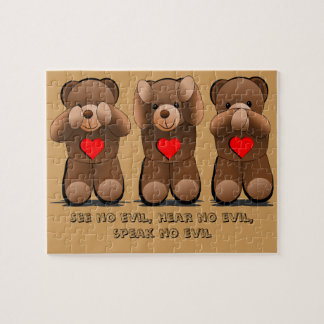 Custom Three Wise Teddies, Teddy Bear Print Jigsaw Puzzle