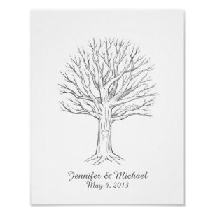 wedding guest thumbprint tree posters prints zazzle uk