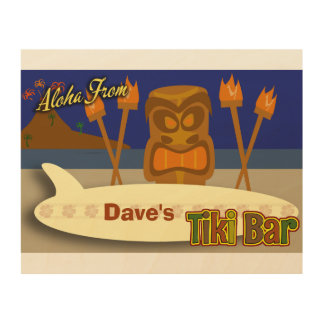 Custom Tiki Bar Sign Wood Canvas