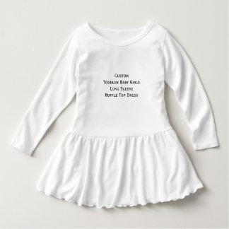 Custom Toddler Baby Girls Long Sleeve Ruffle Dress Shirts