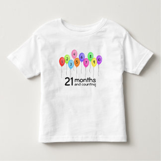 Custom Toddler Counting Age Colorful Balloons Toddler T-Shirt