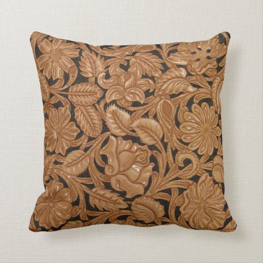 Custom tooled leather image pillow