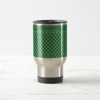 Custom Travel Mug, Blue and Green Polka Dots Travel Mug