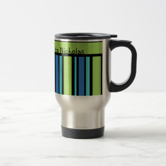 Custom Travel Mug, Blue Moons Deckchair Stripes Stainless Steel Travel Mug