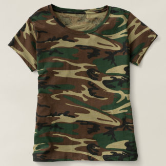 Custom Trendy Green Woodland Camo Camouflage T-Shirt