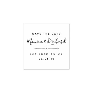 Custom Trendy Wedding Calligraphy Save The Date Rubber Stamp