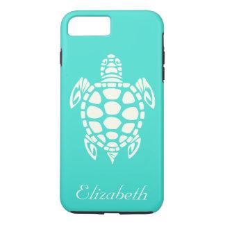 Custom Tribal Sea Turtle Turquoise and Ivory iPhone 7 Plus Case