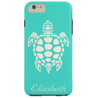 Custom Tribal Sea Turtle Turquoise and Ivory Tough iPhone 6 Plus Case