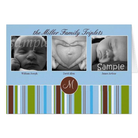 Custom Triplet Birth Announcement - Blue