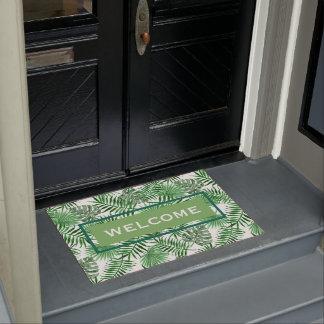 Custom Tropical Green Palm Leaves Summer Pattern Doormat