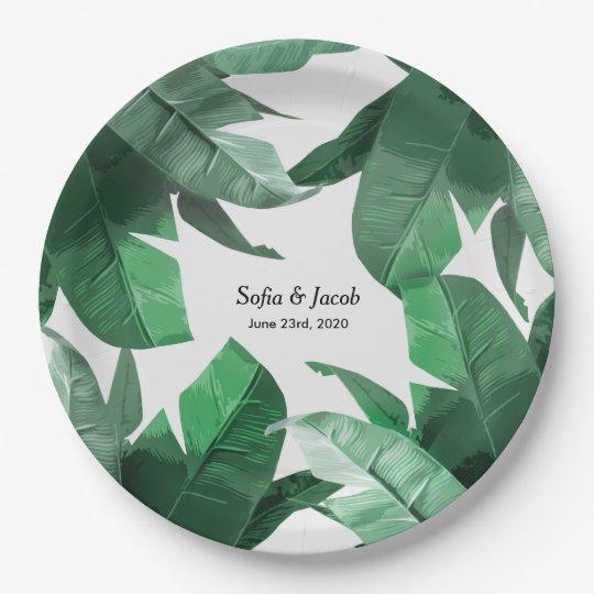 Custom Tropical Leaf Wedding Paper Plates 9 Inch