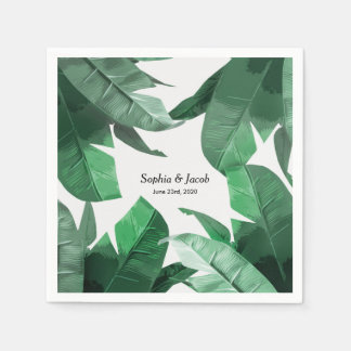 Custom Tropical palm print wedding napkins Paper Napkin