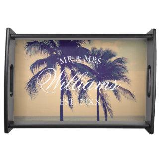 Custom tropical palm tree beach wedding photo serving tray
