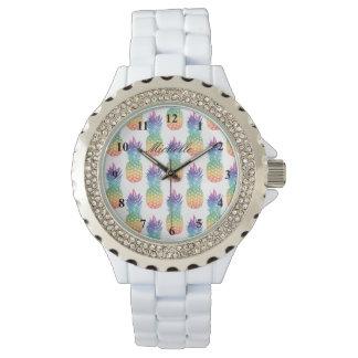 Custom tropical pineapple fruit pattern women's watch