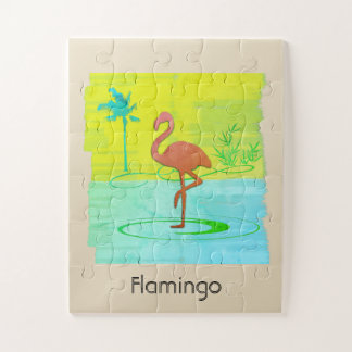 Custom Tropical Pink Flamingo Watercolor Puzzle