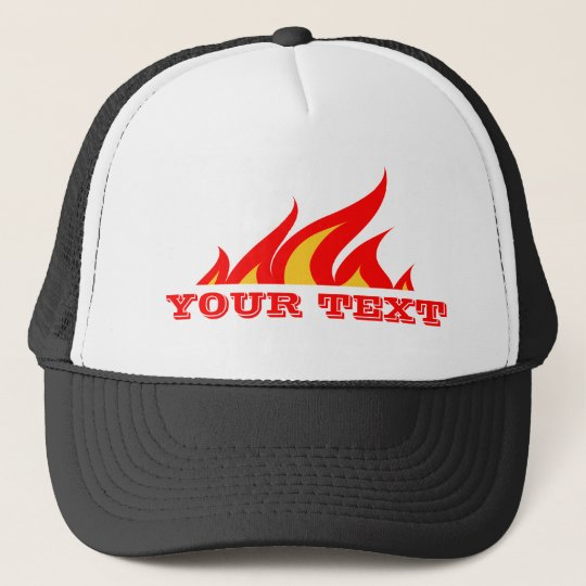 Custom trucker hat with flaming text logo