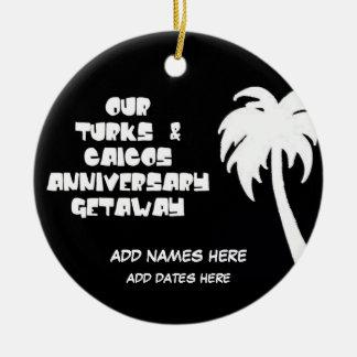 Custom Turks & Caicos Anniversary Round Ceramic Decoration