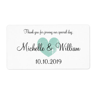 Custom turquoise heart wedding water bottle labels