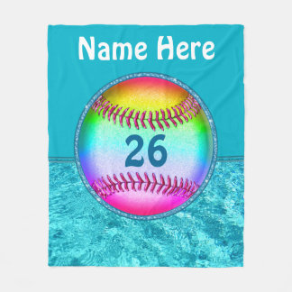 Custom Turquoise Multicolored Softball Blanket