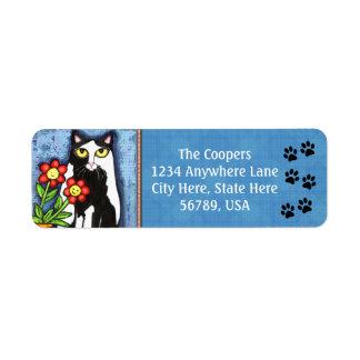 Custom Tuxedo Cat Art Return Address Labels