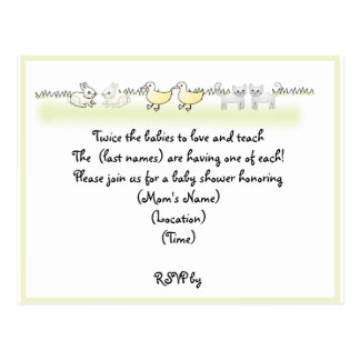 Custom Twin Animals Baby Shower Invitation Postcard