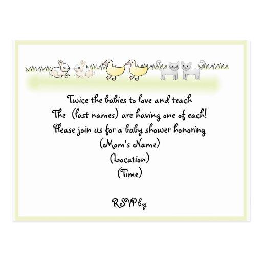 Custom Twin Animals Baby Shower Invitation Postcard