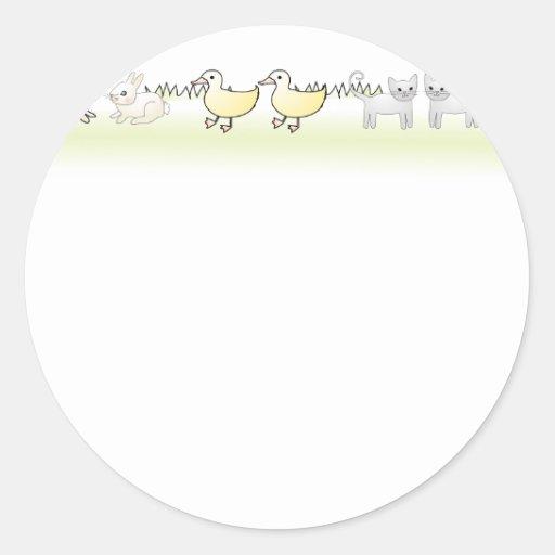 Custom Twin Animals Baby Shower Invitation Sticker