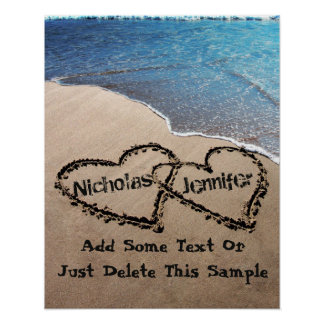 Custom Two Hearts In Sand Large Photo Poster Print