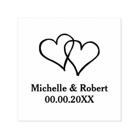 Custom two hearts self inking rubber wedding stamp