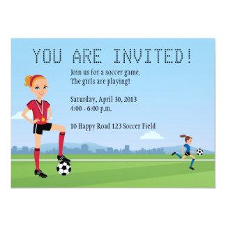 Custom Unique Girl Soccer Player Invitation