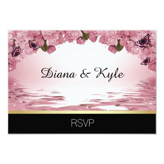 Custom Unique RSVP pink black butterfly wedding Card